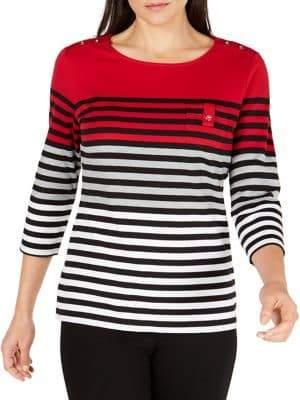 Karen Scott Petite Striped Scoopneck Top