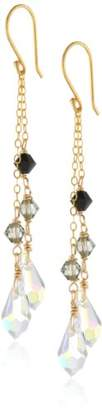 Swarovski Elements Bicone and Briolette Gold over Silver Drop Earrings