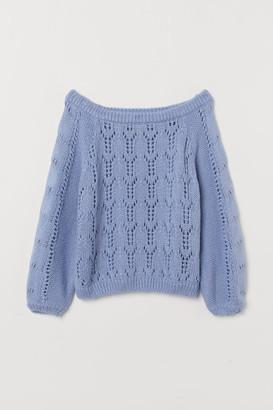 H&M Off-the-shoulder Sweater - Blue