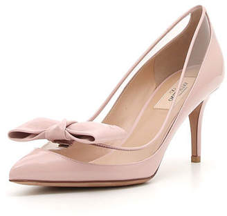 Valentino DollyBow Patent 75mm Pump, Pink