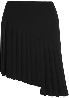 Mugler - Asymmetric Pleated Crepe Mini Skirt - Black $1,035 thestylecure.com
