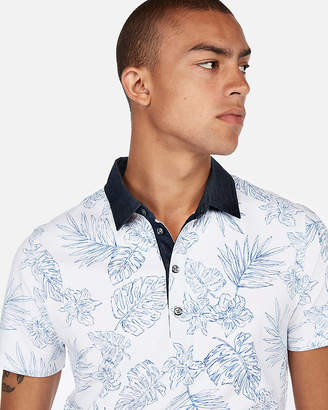Express Floral Moisture-Wicking Signature Stretch Polo