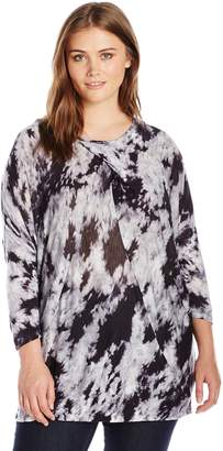 NY Collection Women's Plus Size Printed 3/4 Dolman Sleeve Knit Top