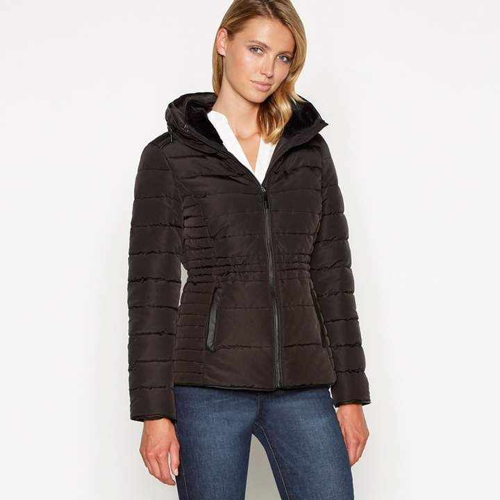 Black Faux Fur Collar Quilted Puffer Jacket