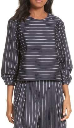 Tibi Shirred Sleeve Crop Top