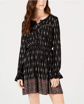 American Rag Juniors' Printed Lace-Up Peasant Dress