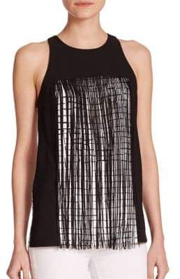 Sachin + Babi Zenith Two-Tone Fringed Check Tank Top