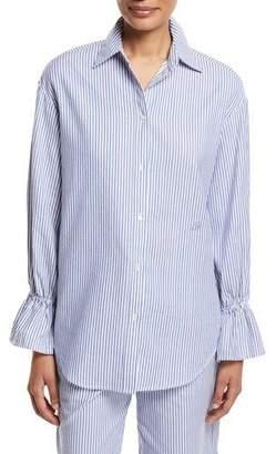 Emporio Armani Striped Poplin Oversized Shirt with Flared Cuff