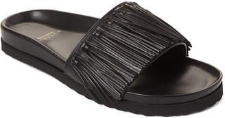 Buscemi Black Fringe Leather Slide Sandals
