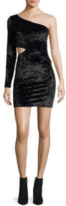 Alice + Olivia Malia One-Shoulder Crushed Velvet Cocktail Dress
