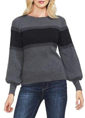 Vince Camuto Bishop-Sleeve Colorblock Cotton Sweater