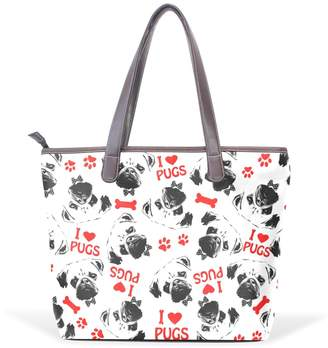 Dragon Optical Sword Black Red And White Pug Dogs Women Handbags Hobo Shoulder Bags Tote PU Leather Handbags Fashion Bags