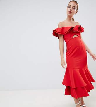 Bardot Jarlo Petite Ruffle Maxi Dress With Cut Out