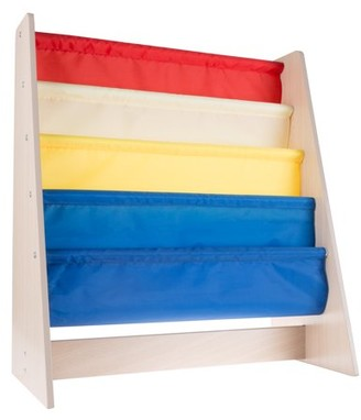 Kids Bookshelf Storage Rack with Colorful Fabric Sling Shelves- Natural Wood Colored Bookcase Organizer for Books for Toddlers, Children by Hey! Play!