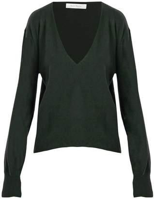Roche Ryan Deep V Neck Cashmere Sweater - Womens - Dark Green