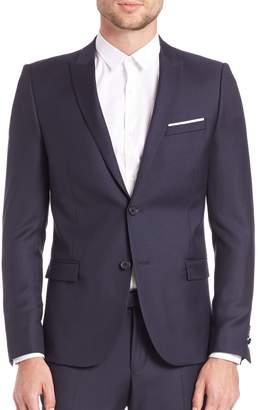 The Kooples Single-Breasted Wool Blend Suit Jacket