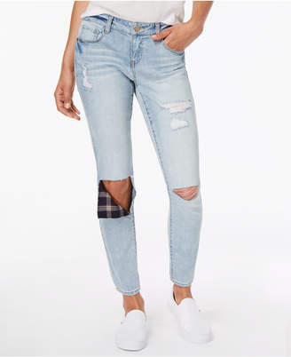 Dollhouse Juniors' Rip & Repair Ankle Skinny Jeans
