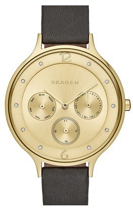 Women's Skagen 'Anita' Multifunction Leather Strap Watch, 36Mm $145 thestylecure.com