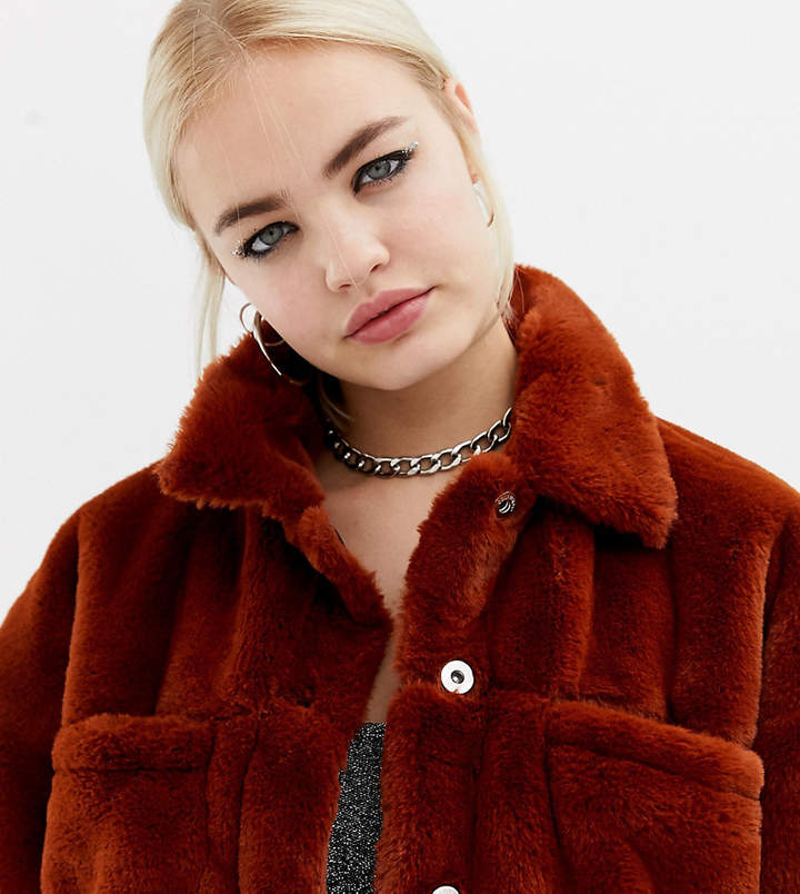 Collusion COLLUSION faux fur western jacket
