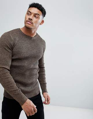 Asos Design DESIGN muscle fit ribbed jumper in tan twist