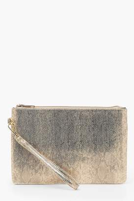 boohoo Metallic Faux Python Snake Zip Top Clutch