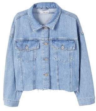 MANGO Frayed hem denim jacket