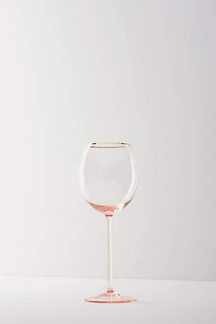 Anthropologie Gilded Rim White Wine Glass