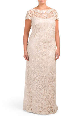 Plus Illusion Neck Lace Gown