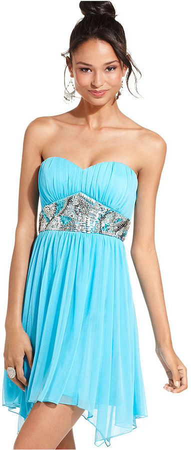 Sequin Hearts Juniors Dress, Strapless Embellished A-Line
