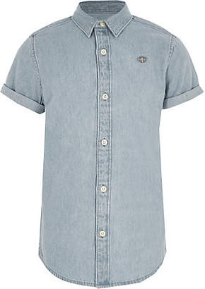 River Island Boys light blue short sleeve denim shirt