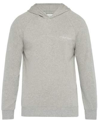 Calvin Klein Underwear Logo Print Cotton Hooded Sweatshirt - Mens - Grey