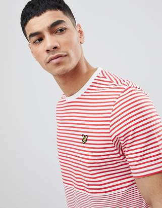 Lyle & Scott crew neck breton stripe t-shirt in red