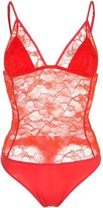 Fleur Du Mal Magnolia lace triangle bodysuit