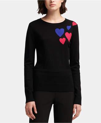 DKNY Heart-Print Crewneck Sweater