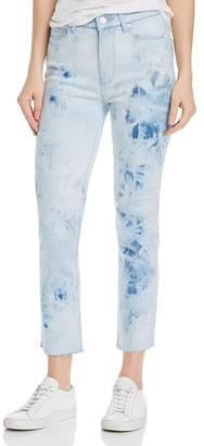 Paige Hoxton Slim Raw-Hem Jeans in Indigo Tie Dye