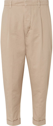 Ami Tapered Pleated Cotton-Twill Chinos - Men - Neutrals