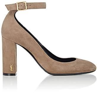 Saint Laurent Women's Loulou Suede Ankle-Strap Pumps - Brown