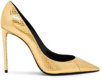 Saint Laurent Metallic Snakeskin Zoe Pumps in Gold | FWRD