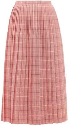 Marni Checked Pleated Wool Skirt - Womens - Pink Multi