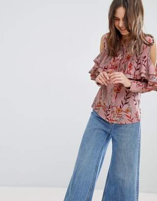 Glamorous Cold Shoulder Floral Shirt