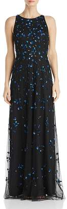 Adrianna Papell Sequined Floral Gown