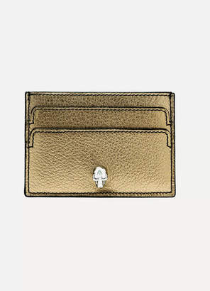 Alexander McQueen Embellished Metallic Textured-leather Cardholder - Gold