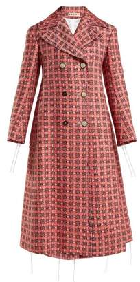 Marni Frayed Threads Double Breasted Tweed Coat - Womens - Pink Multi