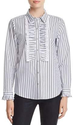 Karl Lagerfeld Paris Ruffle-Trimmed Striped Blouse