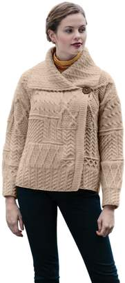 Carraigdonn Carraig Donn 100% Irish Merino Wool Draped Collar One Button Ladies Aran Sweater
