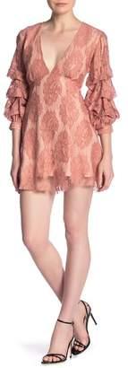 Kas Lace Plunge Gathered Sleeve Mini Dress
