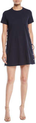 Sacai Short-Sleeve Crewneck Lace-Up Side Jersey Shirtdress