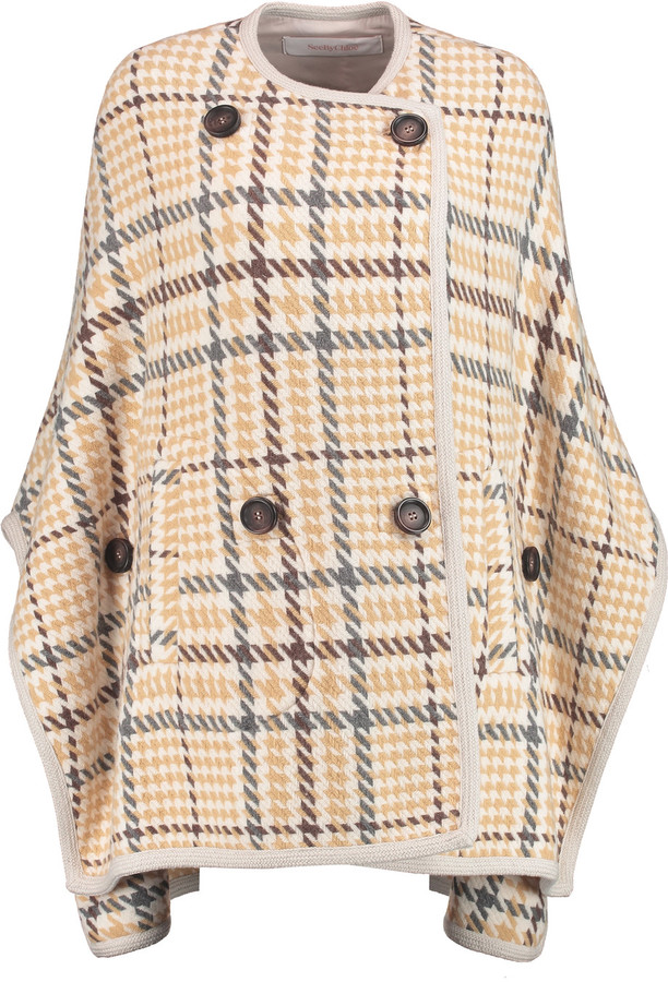 See By Chloe See by Chloé Checked wool-blend cape