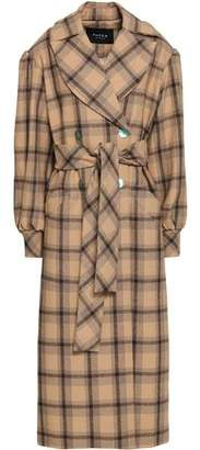 Paper London Clotilde Double-Breasted Checked Felt Coat