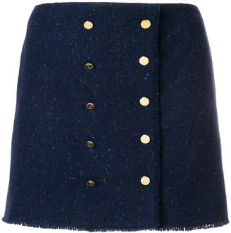 Thom Browne Front-buttoned Frayed Mini Skirt